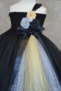 Hey, I found this really awesome Etsy listing at https://www.etsy.com/listing/167806169/black-gold-and-silver-flower-girl-tutu