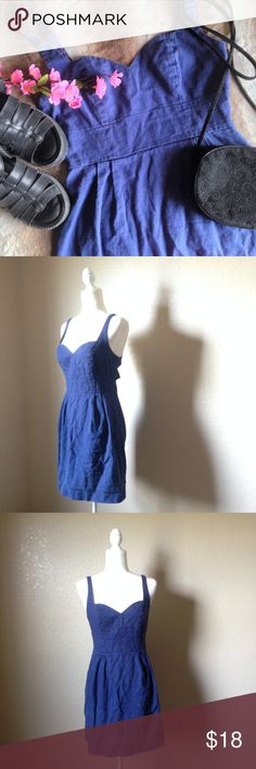 "UO Cooperative Navy Sweetheart Back Cutout Dress Super cute dress by Cooperative from Urban Outfitters, navy blue linen and cotton blend, looks like denim. Features sweetheart neckline, shift silhouette, side zip closure, and three back cutouts with  button detail. Well loved but still has tons of life left, some wear such as minor pilling and slightly worn looking trim, no holes or stains. Size 8, approximate measurements when laying flat are 17"" bust, 14"" waist and 33"" long. Urban…"