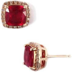 Effy Collection Ruby And Diamond Earrings In 14 Kt. Rose Gold, 0.16 Ct....Lord & Taylor
