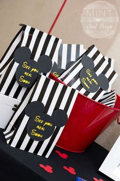 Favor bags at a Mickey and Minnie Mouse birthday party! See more party ideas at CatchMyParty.com!