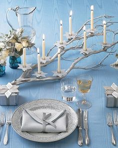 candles + branch. for miracles.  for hanukkah.