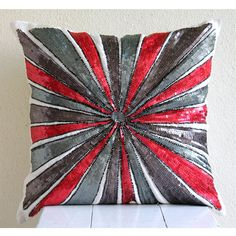 Decorative Pillow Covers Accent Pillows Couch Toss 16x16 Inch Red Silk Pillow Cover Embroidered Beads Home Decor Living Bedding Red Bullseye