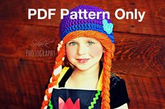 Ana from Frozen Crochet Hat - PATTERN ONLY - All Sizes