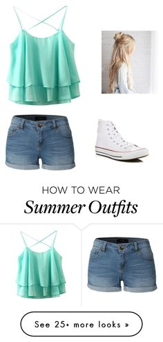 """Summer outfit"" by cali-cam101 on Polyvore featuring LE3NO and Converse"