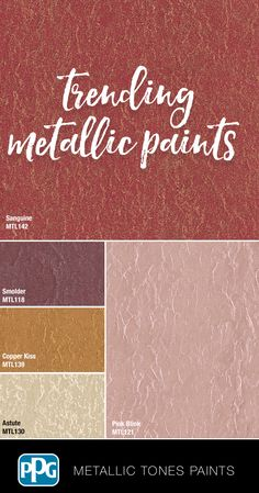 Tricks and Tips for Choosing Paint Colors Metallic Paint Walls, Rose Gold Metallic Paint, Metallic Wallpaper, Metallic Colors, Wall Paint Colors, Room Paint, Blue Living Room Sets, Glam House, Gallon Of Paint