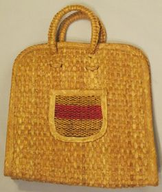 Vintage Woven Straw Handled Bag by GoodBuyForNow on Etsy