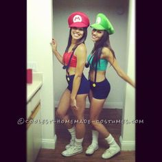 Sexy and Simple Mario and Luigi Couple Costume for Women… Enter Coolest Halloween Costume Contest at http://ideas.coolest-homemade-costumes.com/submit/