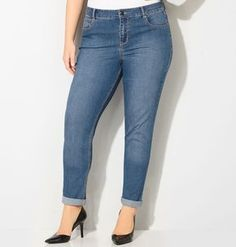 Shop classic medium wash jeans in ankle length like our plus size Virtual Stretch® Cuffed Ankle Jean (Med Wash) available in sizes 14-32 online at avenue.com. Avenue Store