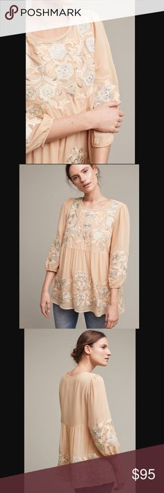 Anthropologie One September Easterly blouse. Nwt. Absolutely gorgeous. Amazing embroidered detail and beautiful color. Size S. Will update measurement and actual pictures of the item. Price is firm unless bundle. Anthropologie Tops Blouses