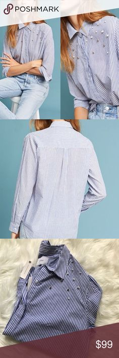 NWT Rails pearl shoulder stripes button up top Such a chic top! Blue and white pinstriped with pearls and silver ball detailing on/around the shoulders. Buttons down and is collared. Rails Tops Blouses