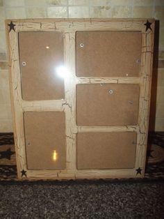 Primitive Crackle Wood Multi Photo Frame ~ Black Stars ~ Country Decor #NaivePrimitive