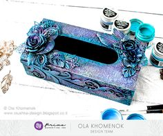It's THURSDAY and that means a brand-new tutorial for you! Today we are showing off the gorgeous colors you can create with our new Finnabair Opal Magic Paints! Come watch Ola transform an inexpensive box into a work of art! Art Basics, Plastic Art, Prima Marketing, Altered Bottles, Weird Shapes, Scrapbook, Vintage Vanity, Acrylic Box, Mixed Media Artists