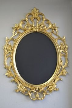 Gold ornate oval frame featured here available in my inventory. Just insert chalkboard/ signage.