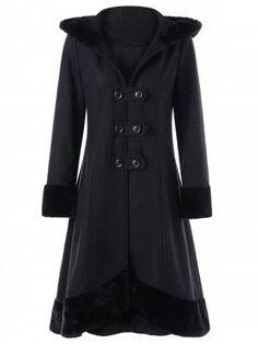 Lace Up Faux Fur Hem Hooded Dress Coat