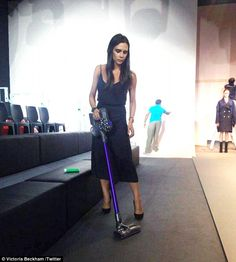 Getting stuck in: Victoria  shared a Twitter pic of herself cleaning the catwalk ahead of ...