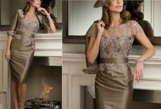 2014 Custom Elegant Mother of the Bride/Groom Tea length Lace Applique gown/dresses wedding/party Prom/Evening Dress Free 3/4 Sleeve Jacket on Etsy, $139.00