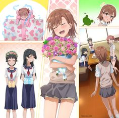 4girls :d black_hair bouquet box brown_eyes brown_hair closed_eyes comic commentary_request drooling electricity electrocution flower frog from_behind gift grey_skirt grin hair_ornament hairclip head_wreath highres in_box in_container long_hair misaka_mikoto multiple_girls open_mouth outstretched_hand puma_(hyuma1219) revision saten_ruiko school_uniform serafuku shirai_kuroko short_hair shorts_under_skirt skirt smile sweater_vest to_aru_kagaku_no_railgun to_aru_majutsu_no_index…