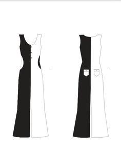 #5 - macacão pantacourt preto/branco com recortes no bolso preto com branco  Um ahazoo!