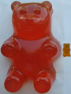 """Edible Giant Gummy Bear.  ORANGE.  Made ONLY from the authentic Haribo product.  """"Haribomb"""" on Etsy, $10.00"""
