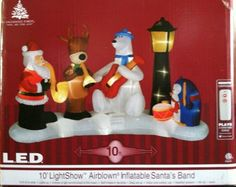 Gemmy LED Light & Music Show Airblown Inflatable Santa's Christmas Band, 10-Feet