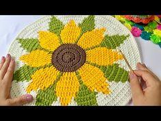 Sunflower Mandala, Crochet Sunflower, Crochet Squares, Crochet Doilies, Crochet Flowers, Crochet Mandala, Crochet Designs, Crochet Patterns, Tapestry Crochet
