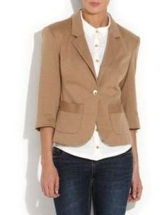 Camel Single Button Blazer - love the simplicity of this look and the satin trim patch pockets are a great touch!  AUD$38
