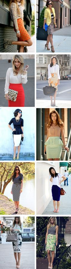The only issues I have with any of these would be the peplum touches-- always risky with my height. Otherwise, I love ALL of these outfits! Urban Fashion, Fashion Looks, Pencil Skirt Outfits, Pencil Skirts, Cool Outfits, Casual Outfits, Look Boho, Smart Outfit, Work Attire