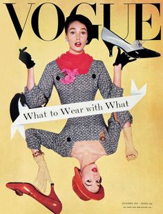 October 1957 Vogue magazine cover! They need to bring back the cool black gloves.