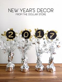 New Year's Eve Decorating Ideas from the Dollar Store Did you know you can buy helium balloons at the dollar store? Shiny foil ones in tons of colors? Until just a few weeks ago, I had missed this useful piece of info. My friends and I love having… Diy Birthday Decorations, New Years Decorations, Birthday Crafts, Birthday Nails, New Years Eve Dinner, New Years Party, New Year's Eve Celebrations, New Year Celebration, Helium Balloons