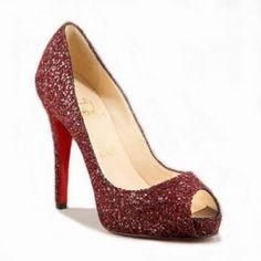 Christian Louboutin Glitter Peep toe Pumps Red