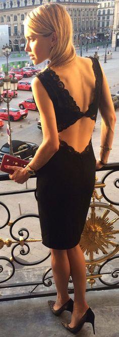 Stella Mc Cartney Black Lovely Lace Detail Open Back Cocktail Dress