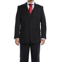 Verno Galano Men's Navy Pin Classic Fit Italian Styled 3-piece Suit