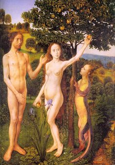 """Hugo Van der Goes """"the fall, Adam, Eve tempted by the snake"""""""