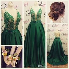 2015 New Formal Evening Dresses Real Photos Spaghetti Neck Appliqued Beaded Hunter Satin A Line Prom Gowns with Open Back And Sweep Train from Nicedressonline,$178.02   DHgate.com