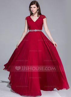 Corte A/Princesa Escote en V Vestido Chifón Encaje Vestido de noche con Bordado Plisado (017025540) - JJsHouse