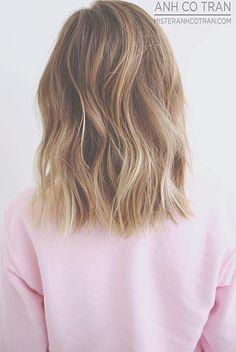 Medium to short length hair style