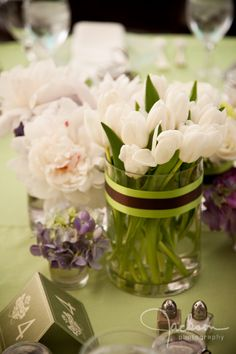 Flowers & Fancies centerpiece with white tulips and peonies