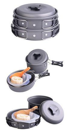 Pot Set Camping Cooker, Pots And Pans Sets, Pan Set, Outdoor Camping, Picnic, Picnics, Outdoor Living, Camping