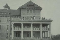 Peoria State Hospital. Check out the crowd of patients on the balconies. This building is now closed.