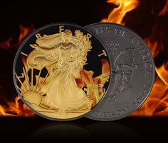 2015 1 oz Ounce Silver Coin Colorized Gold Gilded Ruthenium American Eagle   eBay