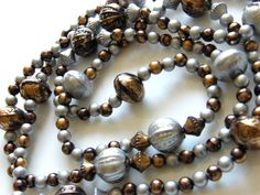 Vintage Bead Necklace Silvered, Bronzed Earth Tone Plastic Beads