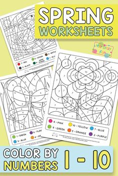 Spring Coloring by Number Worksheets for Kindergarten and Preschool #worksheetsforkids #freeprintables #colorbynumbers