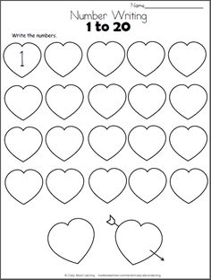 valentine hearts math worksheet trace numbers to 20 bsi preschool math numbers preschool. Black Bedroom Furniture Sets. Home Design Ideas