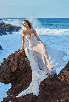 galia lahav gala 2018 bridal hanging sleeves sweetheart neckline ruched bodice romantic grecian soft a  line wedding dress chapel train (1) mv -- Gala by Galia Lahav Collection No. 5 Wedding Dresses