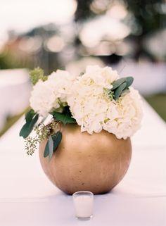 Gold vase with hydrangeas