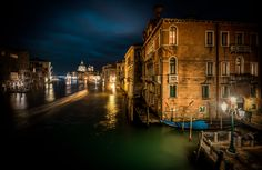 A night view from Accademia Bridge in Venice. An artistic interpretation - the reality has been bend. See the before image here:http://goo.gl/TYQG8O Have a wonderful fridaydear e-friends :-)  --Jacob