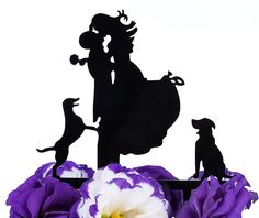 LOVENJOY with Gift Box Love Her Love Her Dogs Bride and Groom Silhouette Wedding Cake Topper (5-inch, Black) -- Additional details at the pin image, click it : baking decorations