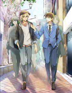 Amuro and Shinichi Detective Conan Conan Movie, Detektif Conan, Magic Kaito, Gosho Aoyama, Detective Conan Wallpapers, Amuro Tooru, Kaito Kid, Kudo Shinichi, Case Closed