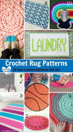 Crochet Rug Patterns – 10 free crochet patterns link list. Here is the link list 95 with amazing crochet rug patterns (including floor rugs, bath mats, indoor rugs, outdoor rugs and playtime rugs). I hope you enjoy and make some for your home!