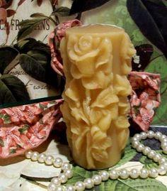 Vela cera de abeja de la flor de la rosa Pilar